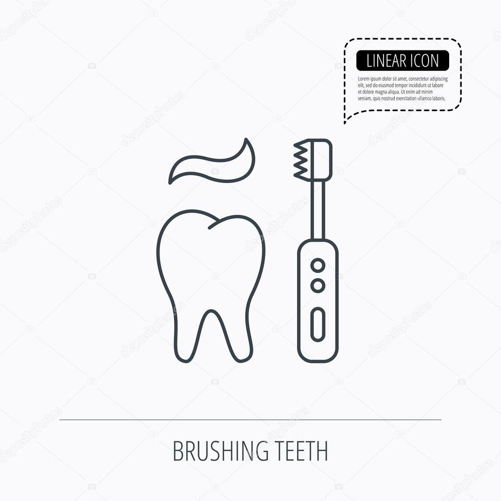 Putzen die Zähne-Symbol. Elektrische Zahnbürste-Zeichen ...