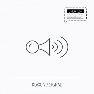 Klaxon signal icon. Car horn sign.