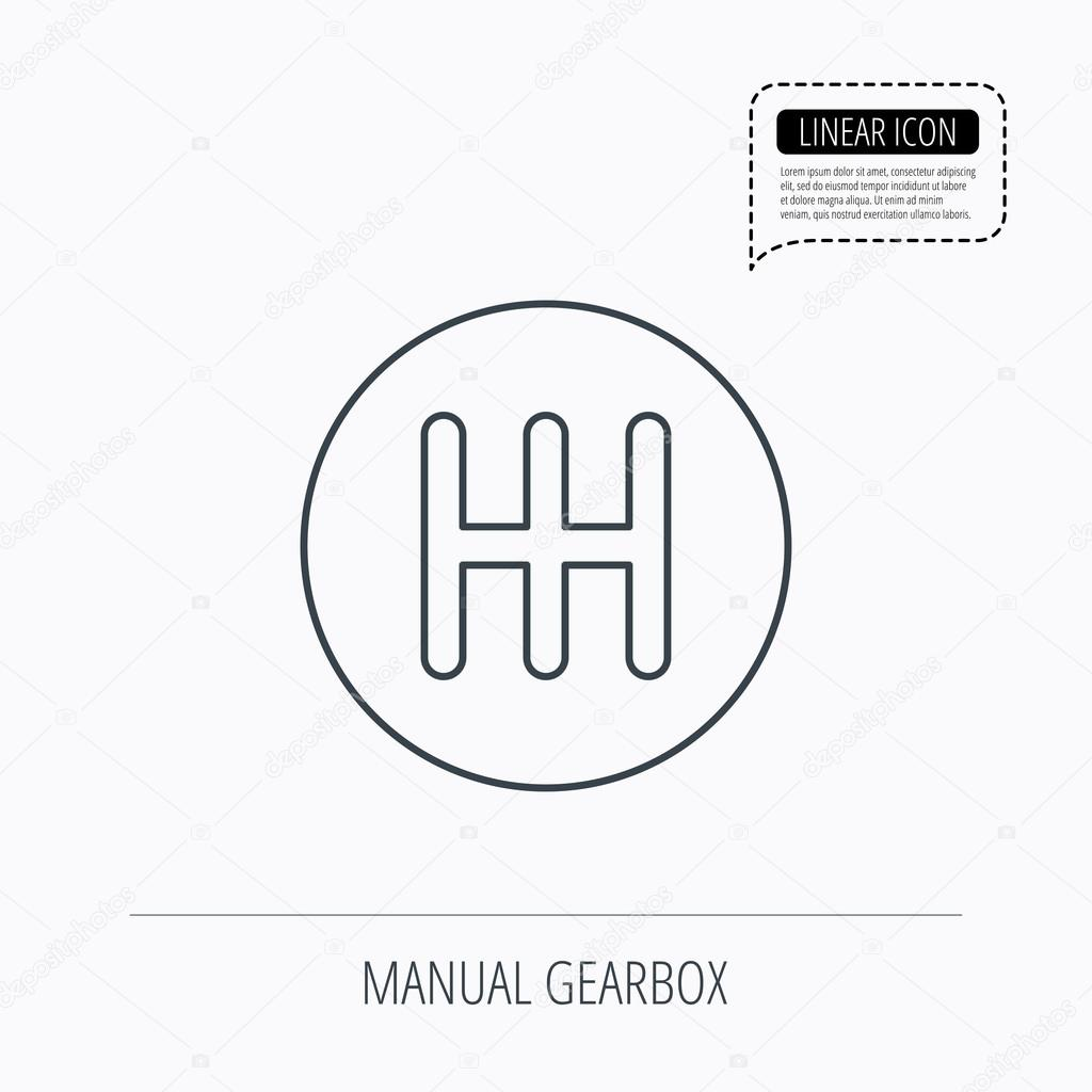 Manual Gearbox Icon Car Transmission Sign Stock Vector