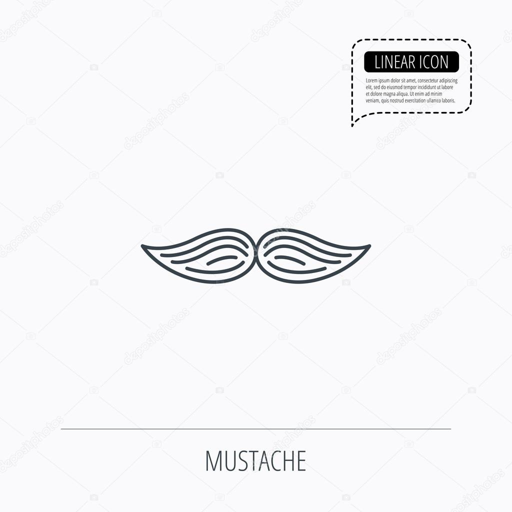 Mustache Icon Hipster Symbol Gentleman Sign Stock Vector