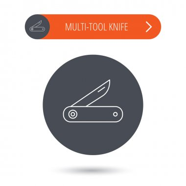 Multitool knife icon. Multifunction tool sign.