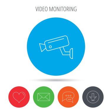 Video monitoring icon. Camera cctv sign.