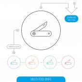 Photo Multitool knife icon. Multifunction tool sign.