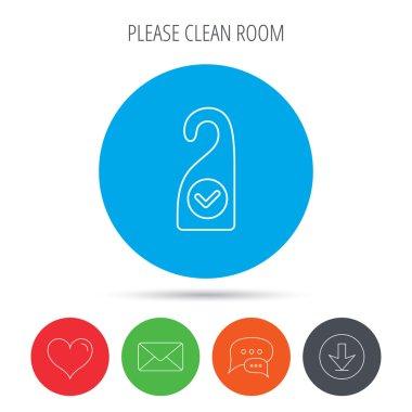 Clean room icon. Hotel door hanger sign.