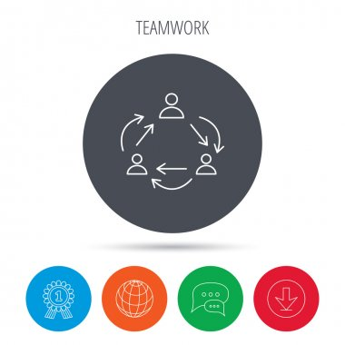 Teamwork icon. Office working process sign.
