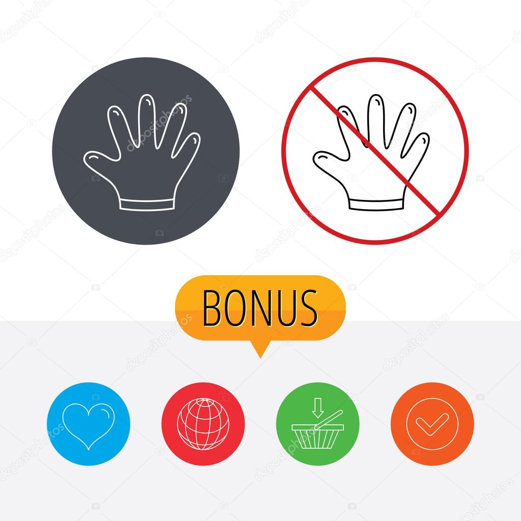 Rubber gloves icon latex hand protection sign stock vector latex hand protection sign housework cleaning equipment symbol shopping cart globe heart and check bonus buttons ban or stop prohibition symbol biocorpaavc