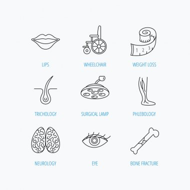 Eye, neurology brain and vein varicose icons.