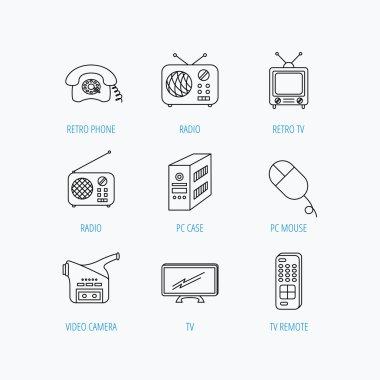 Radio, TV remote and video camera icons.