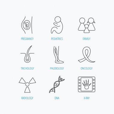 Pregnancy, pediatrics and family icons. Medical.