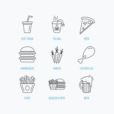 Hamburger, pizza and soft drink icons. Beer.