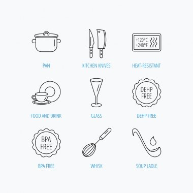Kitchen knives, glass and pan icons. Food and drink, coffee cup and whisk linear signs. Soup ladle, heat-resistant and DEHP, BPA free icons. Linear set icons on white background. clip art vector