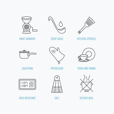 Soup ladle, potholder and kitchen utensils icons. Salt, not boil and saucepan linear signs. Meat grinder, water drop and coffee cup icons. Linear set icons on white background. clip art vector