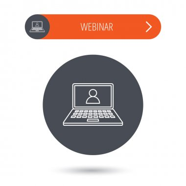 Webinar icon. Chat video sign.