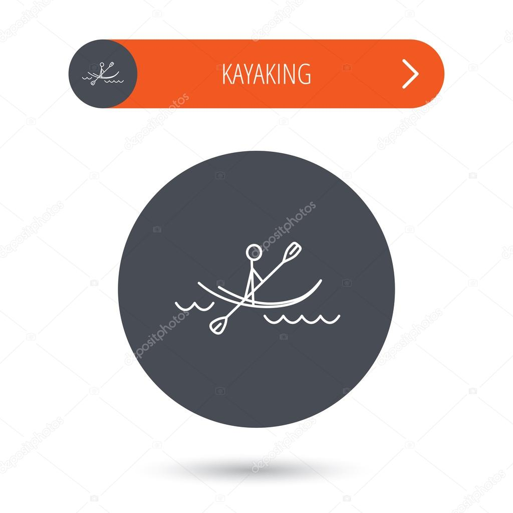 Kayaking on waves icon. Rafting or canoeing.