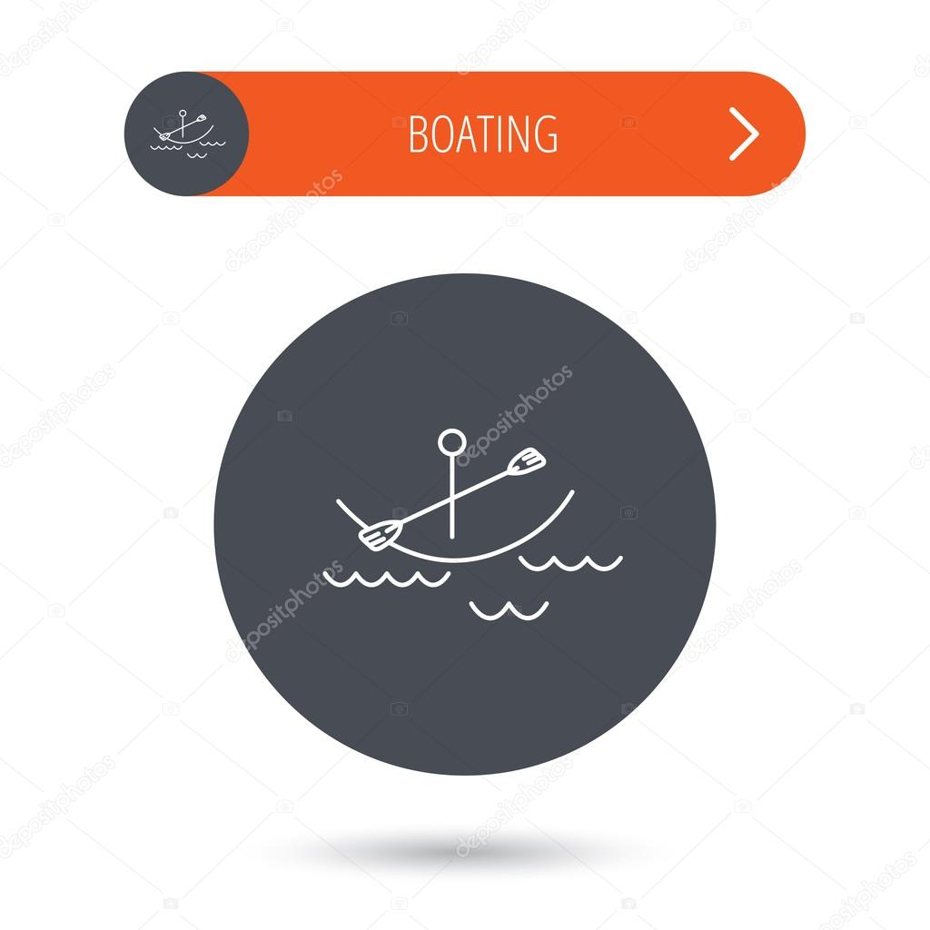 Kayaking on waves icon. Boating or rafting sign.