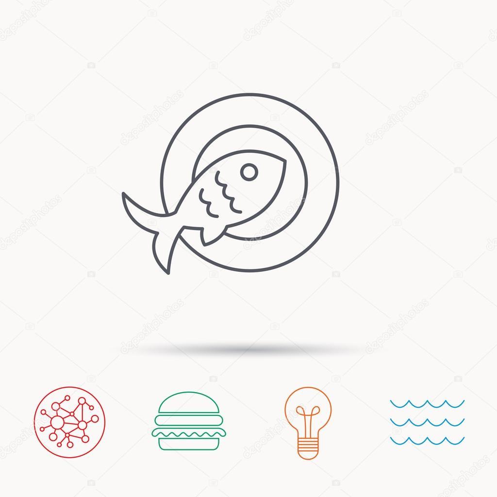 Fish Dish Icon Natural Seafood Symbol Stock Vector Tanyastock