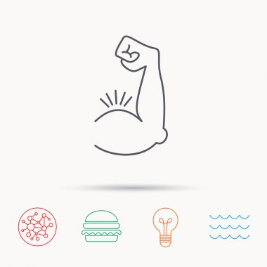 Biceps muscle icon. Bodybuilder strong arm sign.