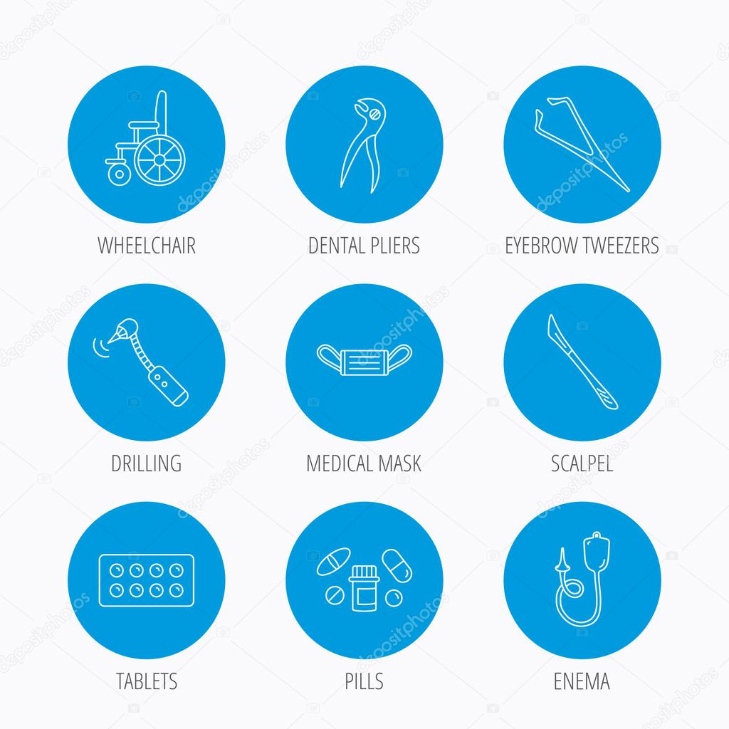 Medical mask, pills and dental pliers icons.