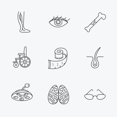 Vein varicose, neurology and trichology icons.