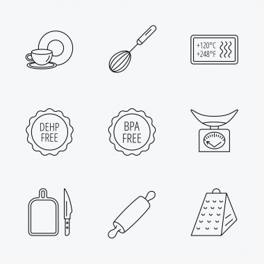 Kitchen scales, whisk and grater icons. Rolling pin, board and knife linear signs. Food and drink, BPA, DEHP free icons. Linear black icons on white background. clip art vector