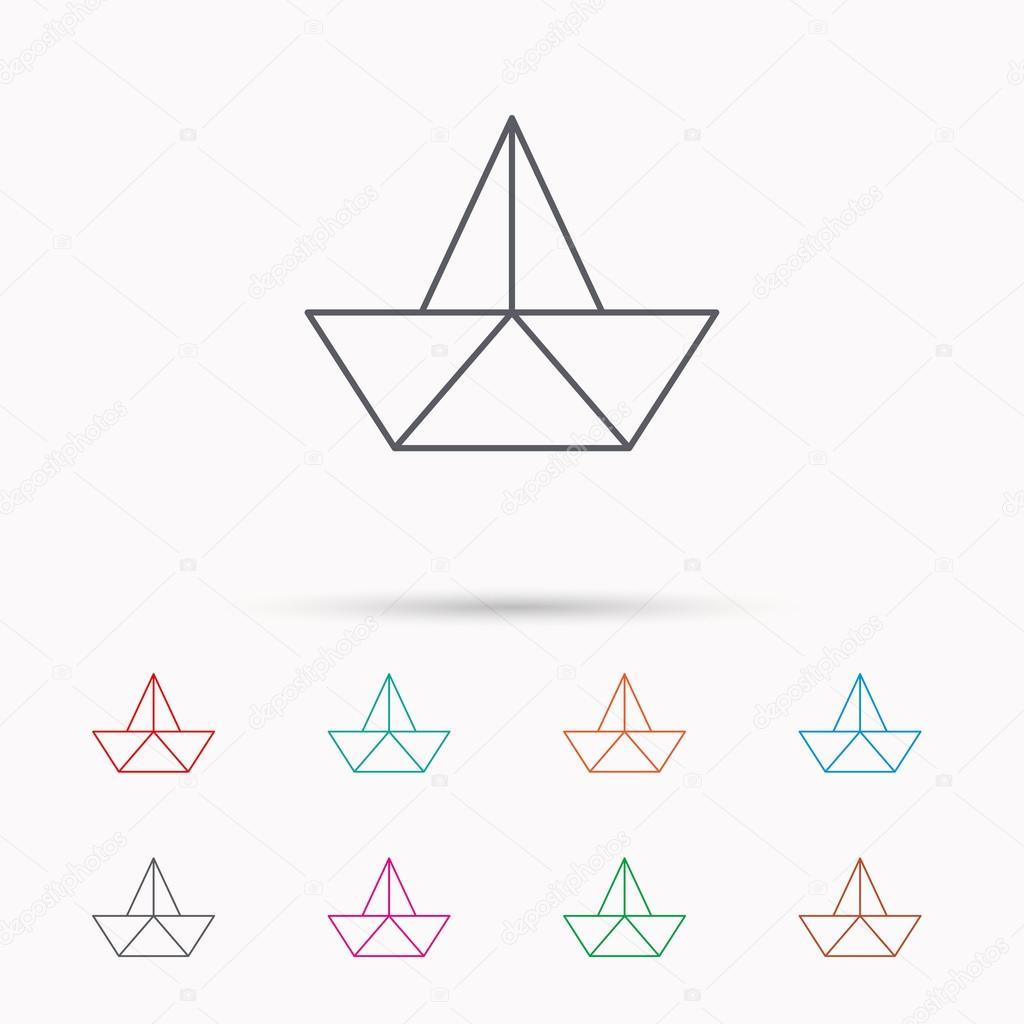 Icône De Papier De Bateau Origami Bateau Signe Image Vectorielle