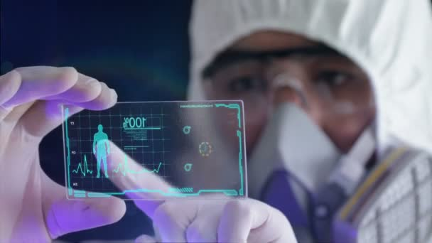 scientist analyzing structure of a DNA on a tablet