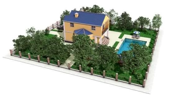 rotující dům s bazénem, zahradou a auto