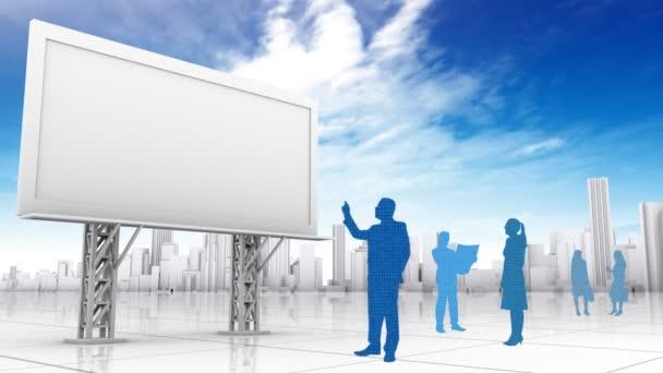 podnikatelé v blízkosti prázdné billboard