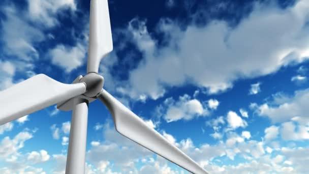 turbina di vento di lavoro con timelapse di nuvole