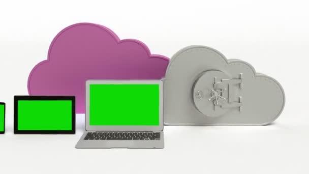 Cloud computing koncepce s zelená obrazovka