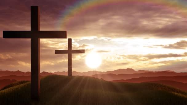 Křesťanské kříže na kopci