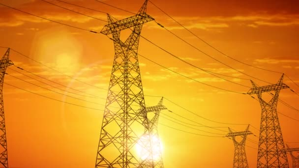 Camera travels among electric power pylons