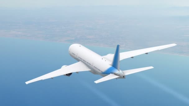 Commercial jet airplane flies above the sea