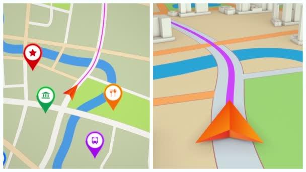 Split screen Gps navigace koncept