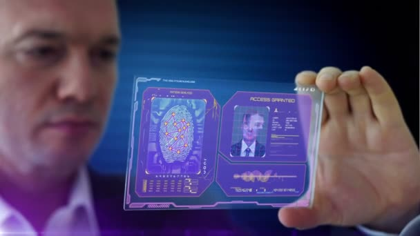 businessman using futuristic tablet