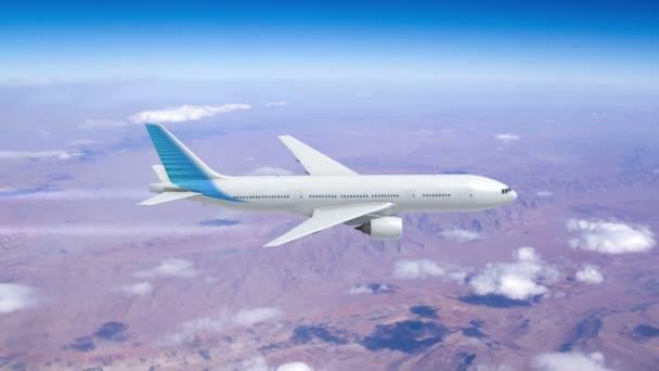 Verkehrsflugzeug fliegt über dem Meer