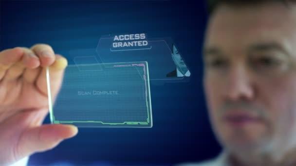 podnikatel pomocí futuristické tablet