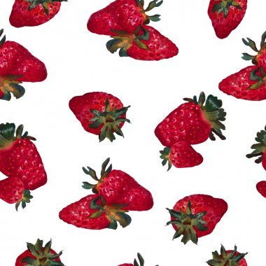 Seamless pattern with strawberries on a white background. Waterc