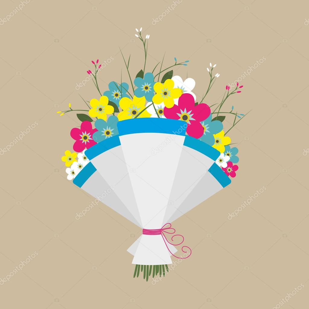 Cute bouquet of flowers — Stock Vector © abscent #101080398