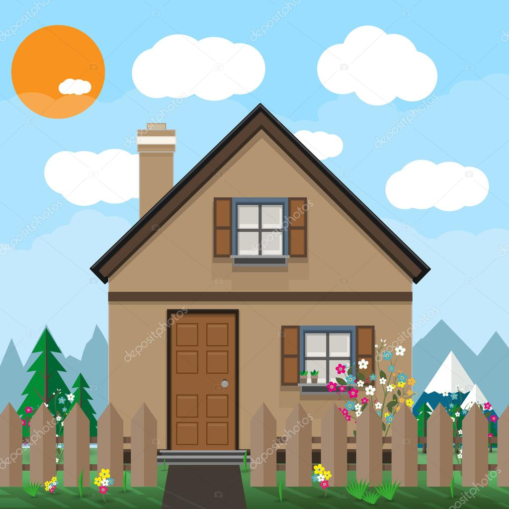 Brown wooden house and garden with flowers. mountains, blue sky, white clouds. sun. summer background, vector illustration in flat design