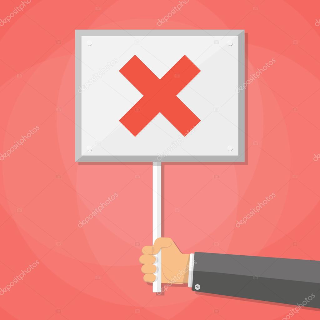 Cartoon Businessman hand hold sign with cross  negative