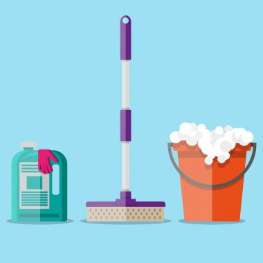 cleaning set in flat style