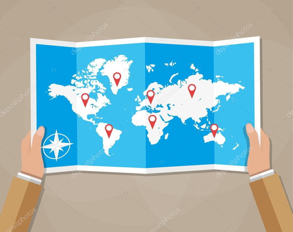 Vector travel world map in hands stock vector abscent 104531968 cartoon hands hold folded paper map of world with color point markers world map countries vector illustration in flat design on brown background vector gumiabroncs Gallery