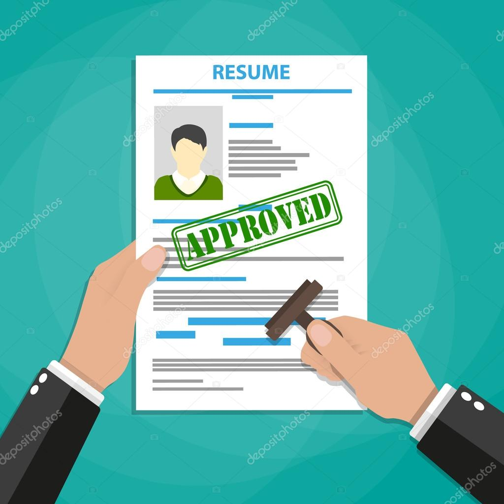 hand holding resume with approved stamp mark  u2014 stock