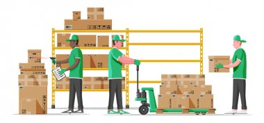 Warehouse shelves with goods, mover and container package boxes. Pile cardboard boxes set. Carton delivery packaging open and closed box with fragile signs. Vector illustration in flat style icon