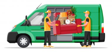 Delivery van full of home stuff inside. Moving to new house. Family relocated to new home. Boxes with goods. Package transportation. Computer, lamp, clothes, books. Flat vector illustration icon