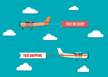 Vector modern flat concept design on flying advertising banners pulled by light plane clip art vector