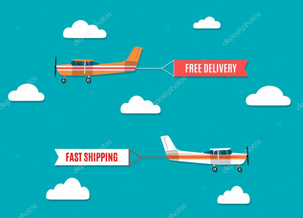 Vector modern flat concept design on flying advertising banners pulled by light plane clipart vector