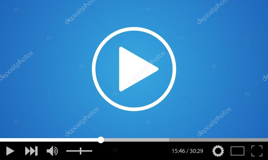 Video player flat design template for web and mobile apps — Stock