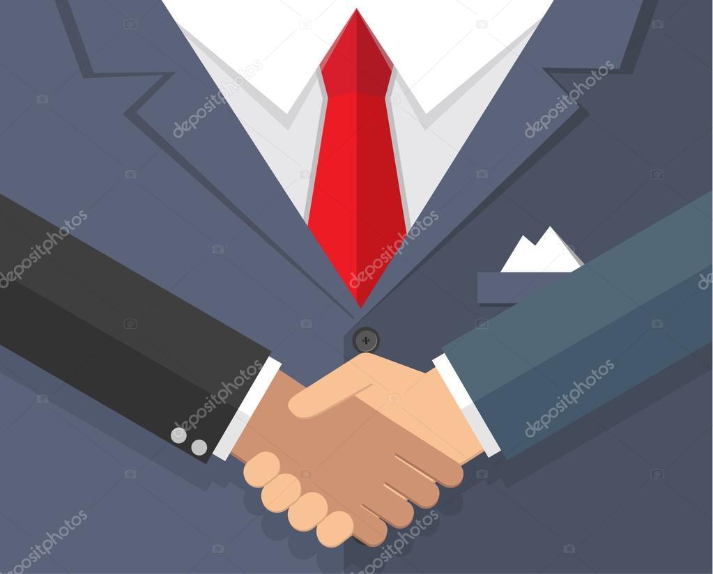 Handshake in flat style suit